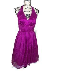 Carmen Marc Valvo Fuschia Pink Halter Dress NWT 10